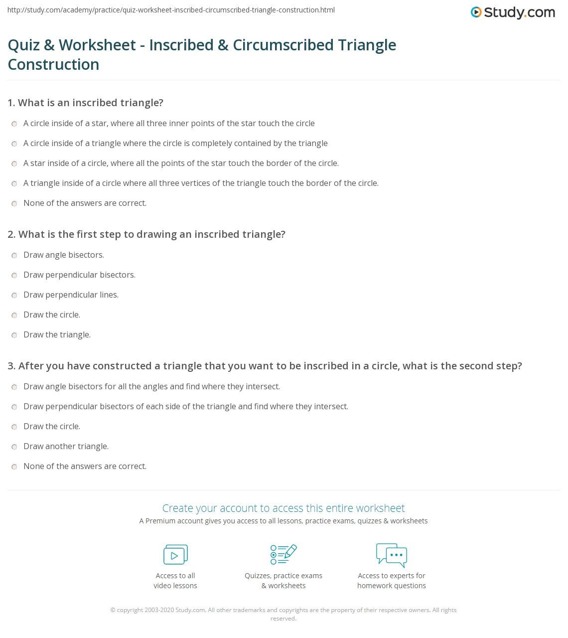 Quiz Worksheet Inscribed Circumscribed Triangle Construction – Constructing Triangles Worksheet