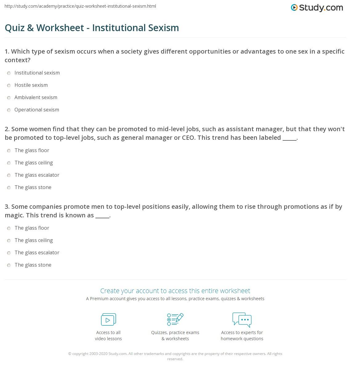 quiz worksheet institutional sexism. Black Bedroom Furniture Sets. Home Design Ideas