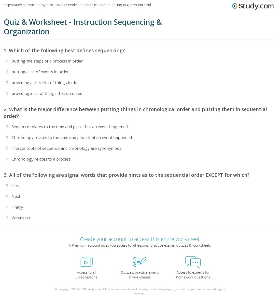Quiz worksheet instruction sequencing organization study print organizing instructions into a proper sequence worksheet ibookread PDF