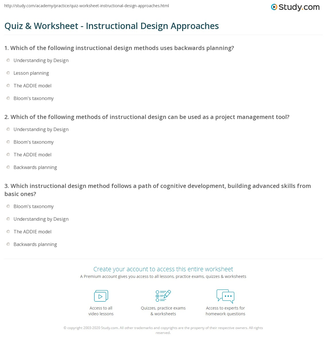 Quiz Worksheet Instructional Design Approaches Study