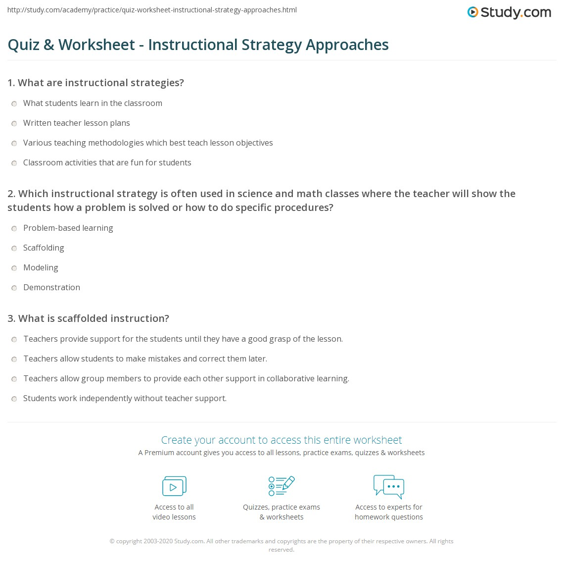 Quiz Worksheet Instructional Strategy Approaches Study