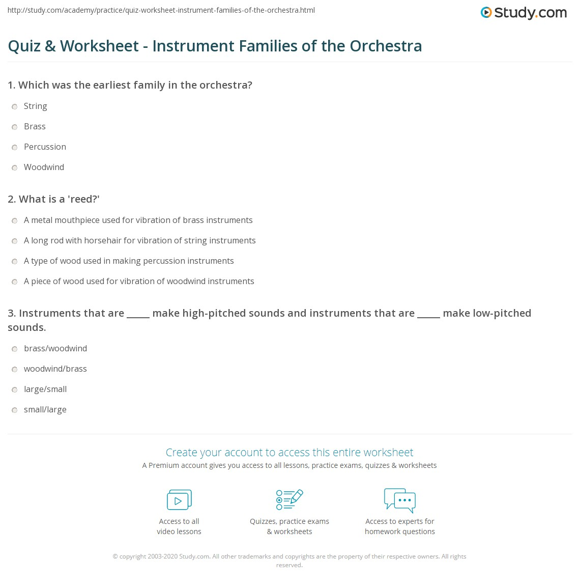 Worksheets Orchestra Worksheets quiz worksheet instrument families of the orchestra study com print string woodwind brass percussion worksheet