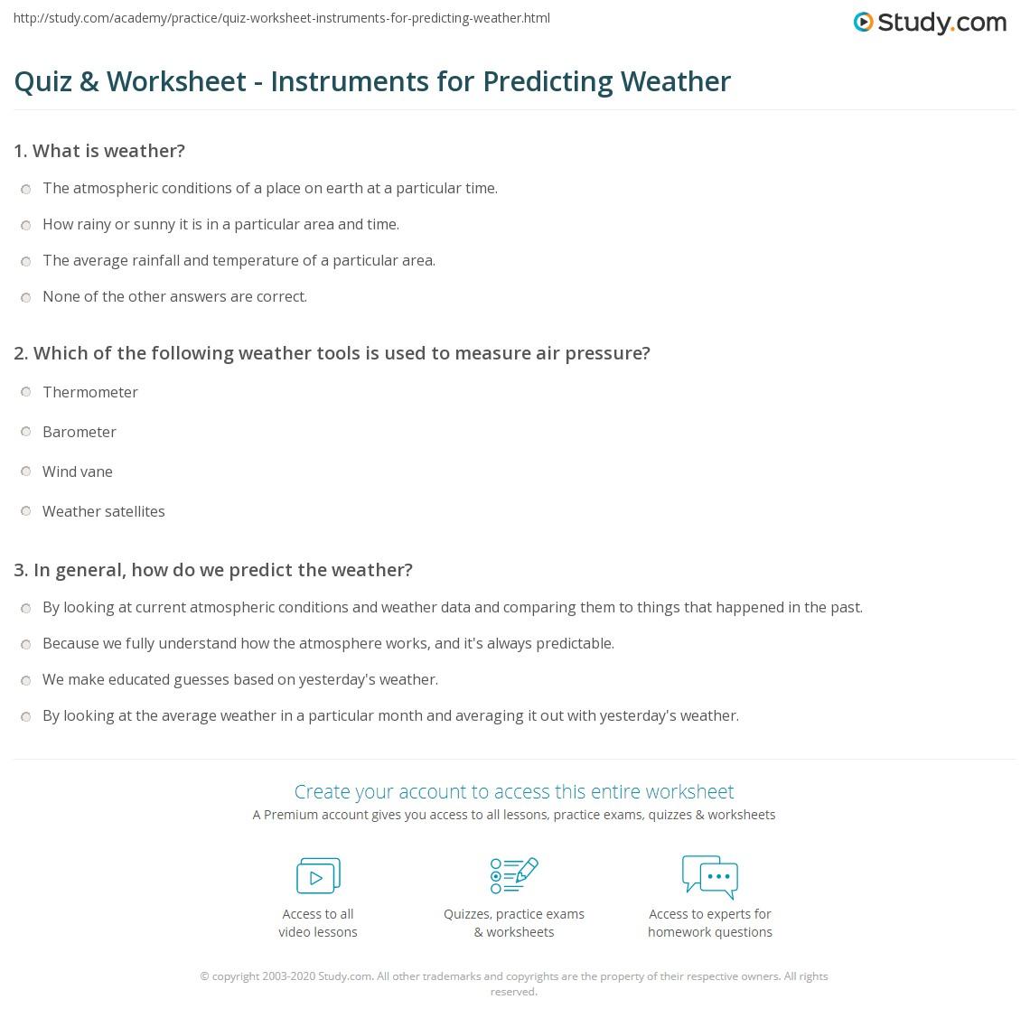 Worksheets Weather Tools Worksheet quiz worksheet instruments for predicting weather study com print the tools maps symbols worksheet