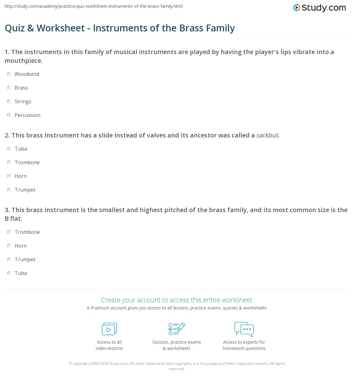 Quiz & Worksheet - Instruments of the Brass Family | Study.com