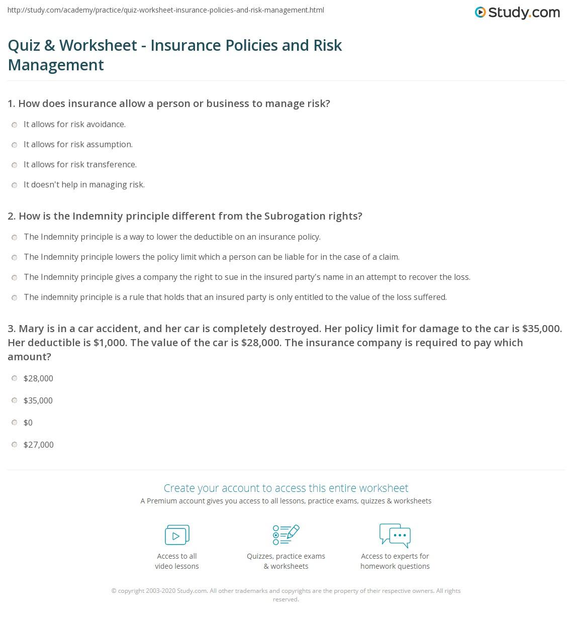 Quiz & Worksheet - Insurance Policies and Risk Management | Study.com