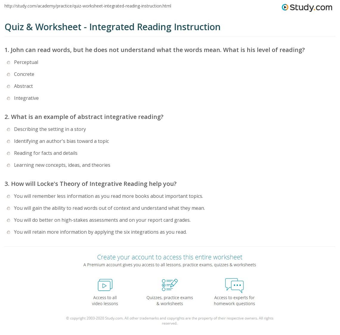 Quiz Worksheet Integrated Reading Instruction Study
