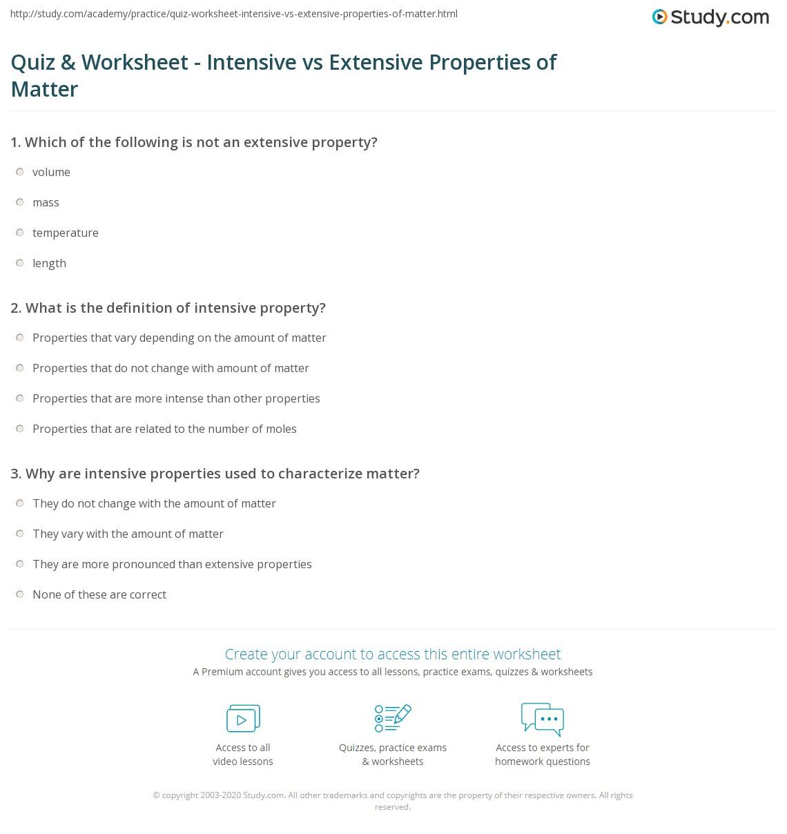 Quiz & Worksheet - Intensive vs Extensive Properties of Matter  worksheets, free worksheets, printable worksheets, and worksheets for teachers Physical Properties Of Matter Worksheets 1182 x 1140