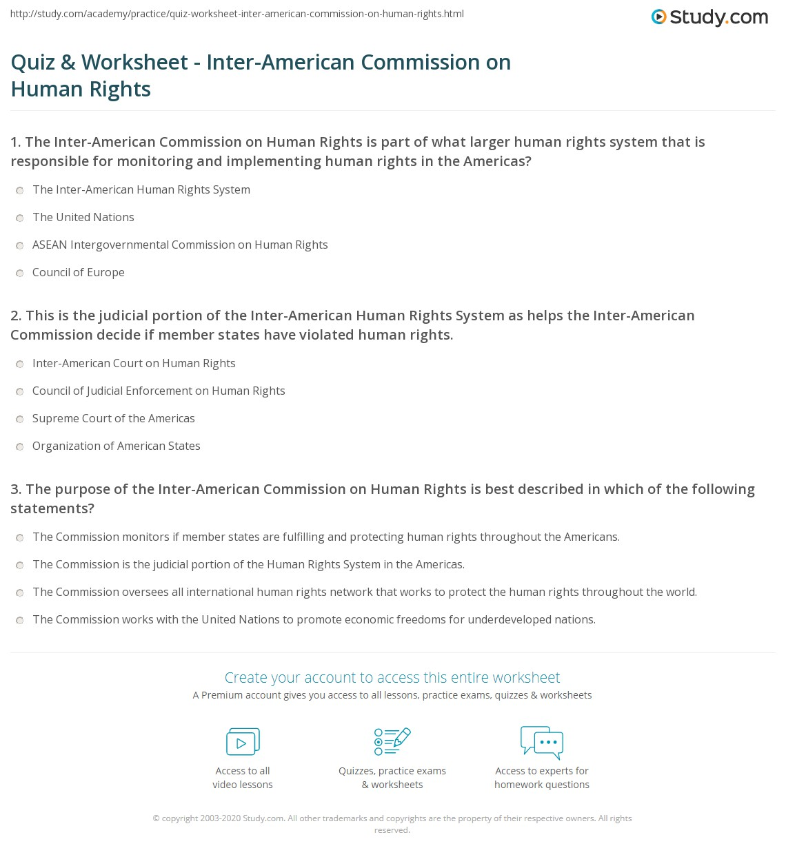 quiz worksheet inter american commission on human rights. Black Bedroom Furniture Sets. Home Design Ideas