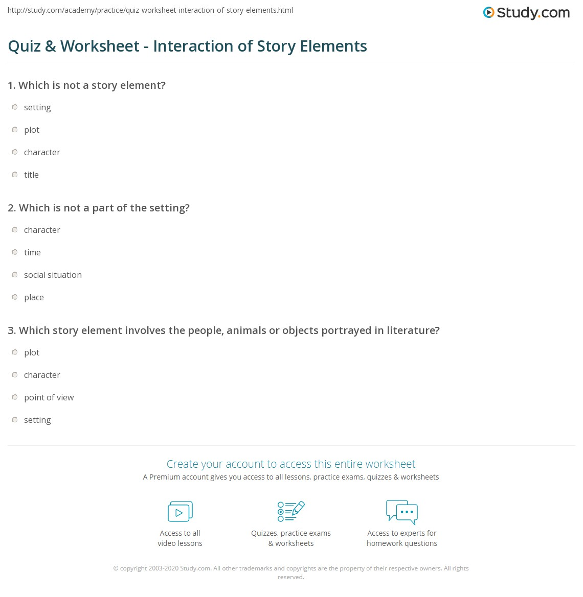 Worksheets Story Elements Worksheets quiz worksheet interaction of story elements study com print analyzing how interact worksheet