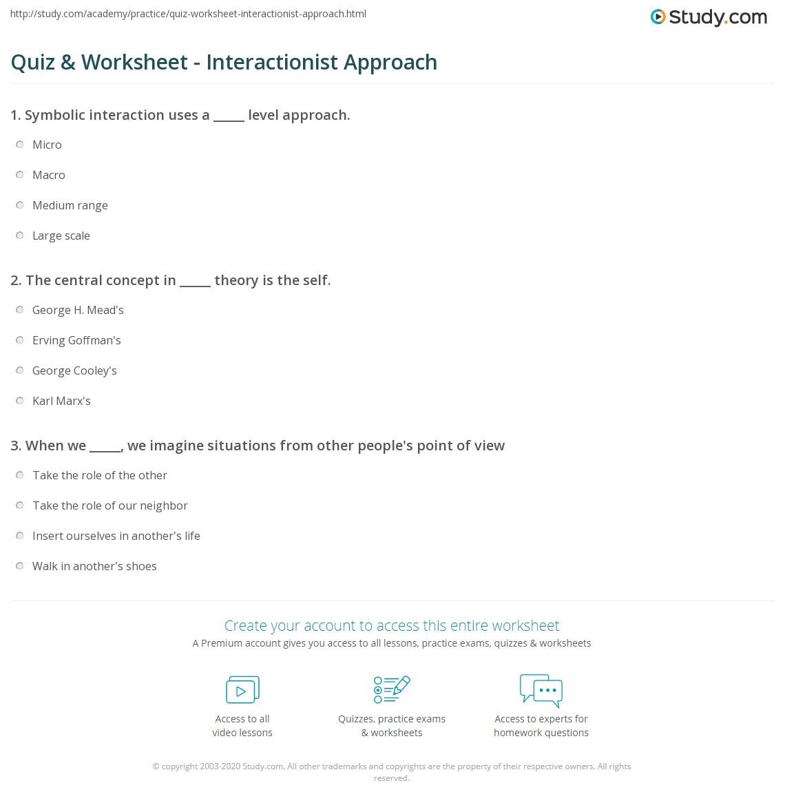 Quiz Worksheet Interactionist Approach Study