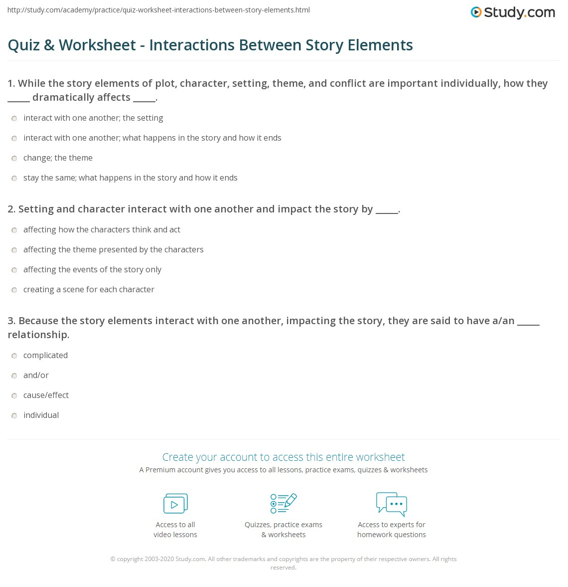 Worksheets Identifying Story Elements Worksheet quiz worksheet interactions between story elements study com print how interact shape one another worksheet