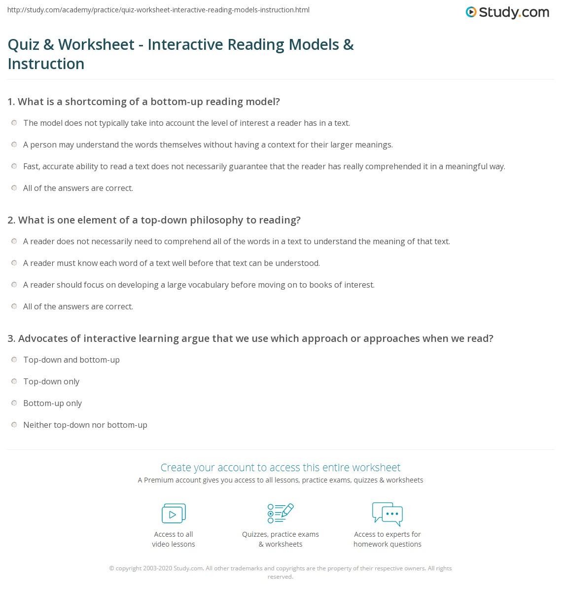 Quiz Worksheet Interactive Reading Models Instruction Study