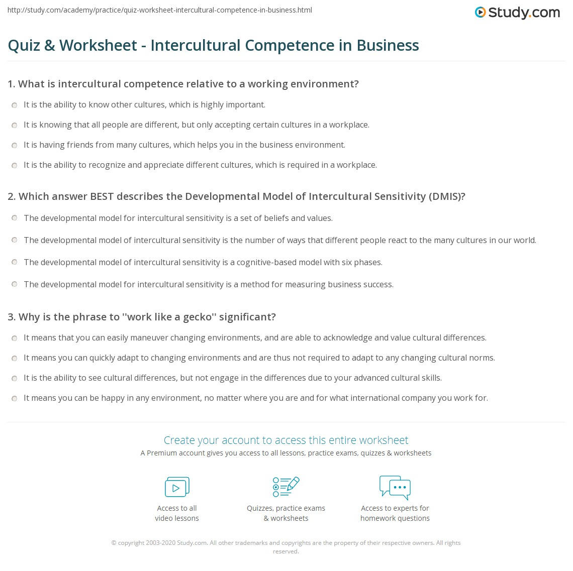 print developing intercultural competence in business worksheet