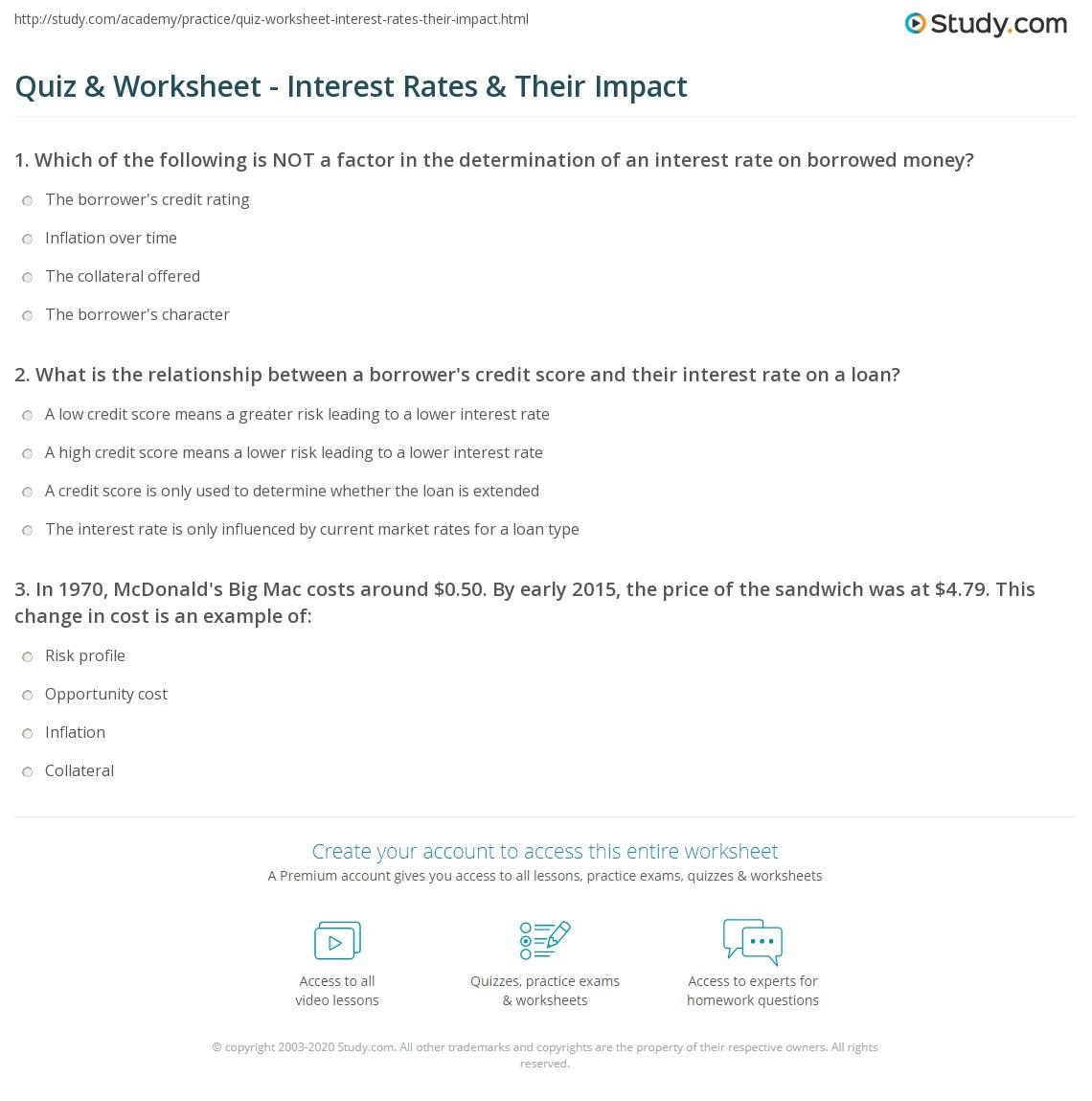 Quiz Worksheet Interest Rates Their Impact Study Com
