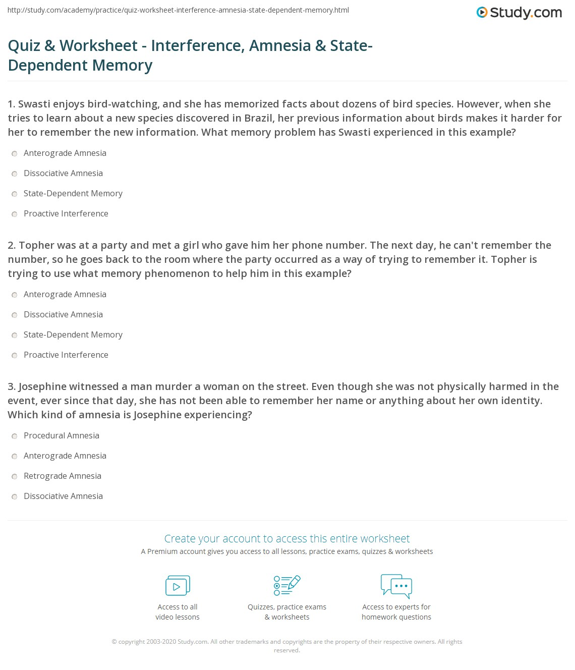 Quiz Worksheet Interference Amnesia State Dependent Memory