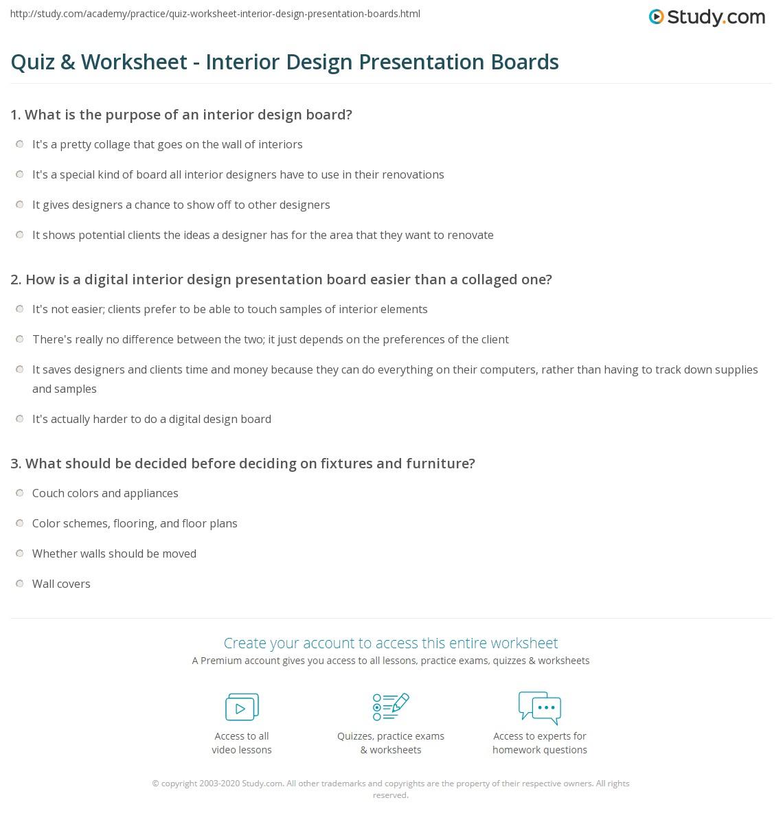 Quiz Worksheet Interior Design Presentation Boards Study Com