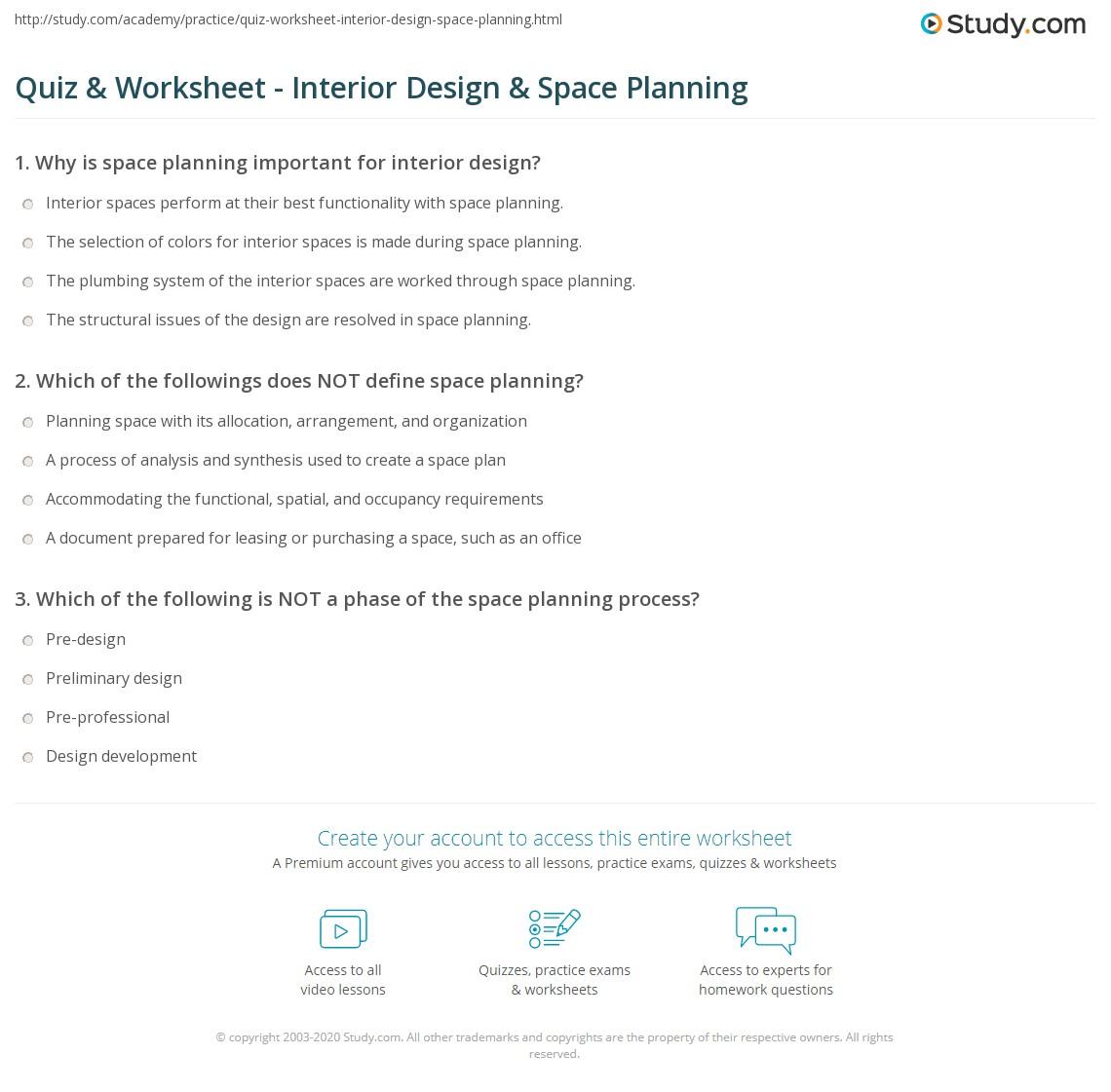 Print Interior Design Space Planning Worksheet