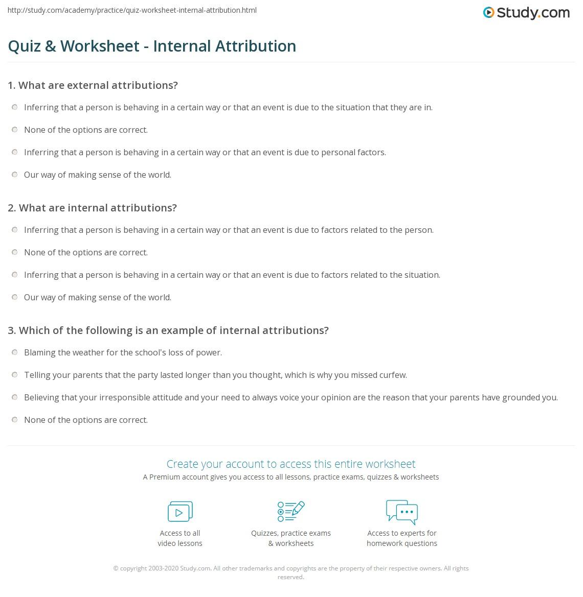 quiz worksheet internal attribution study com