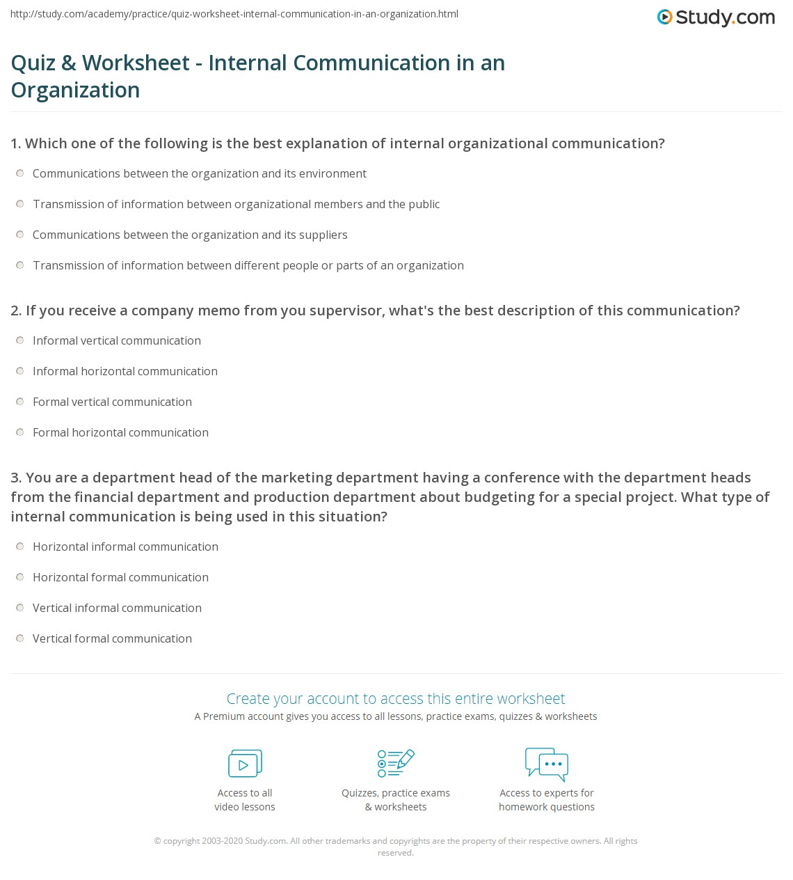 quiz worksheet internal communication in an organization study com