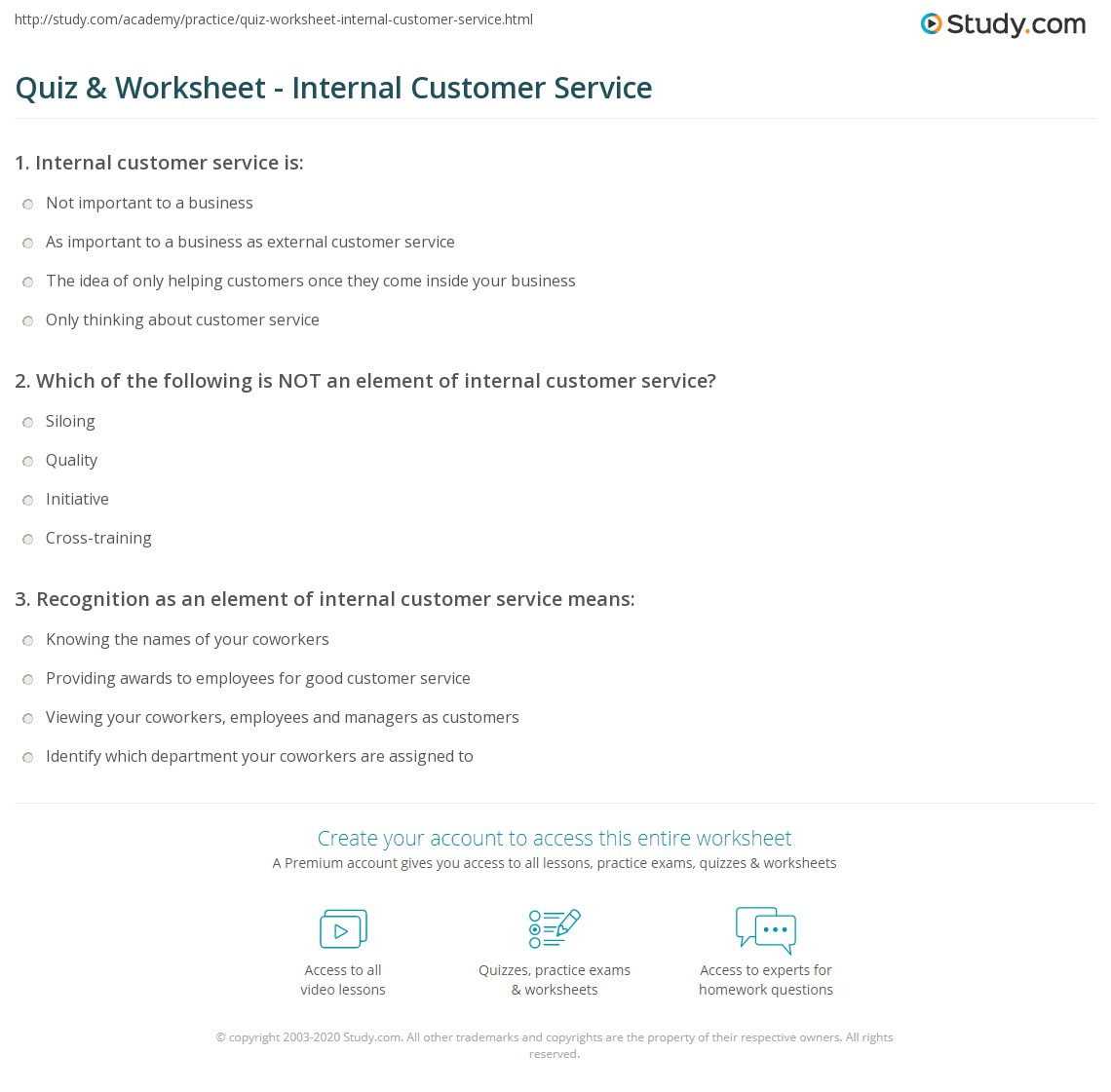 quiz & worksheet - internal customer service | study