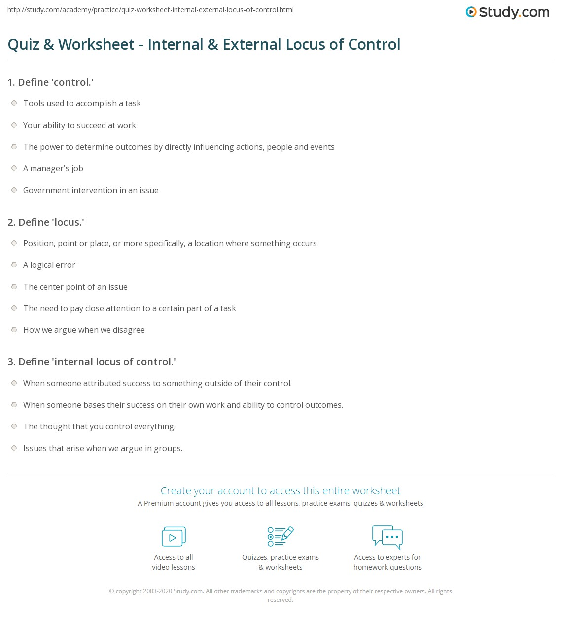 worksheet Locus Worksheet quiz worksheet internal external locus of control study com print definition and examples worksheet