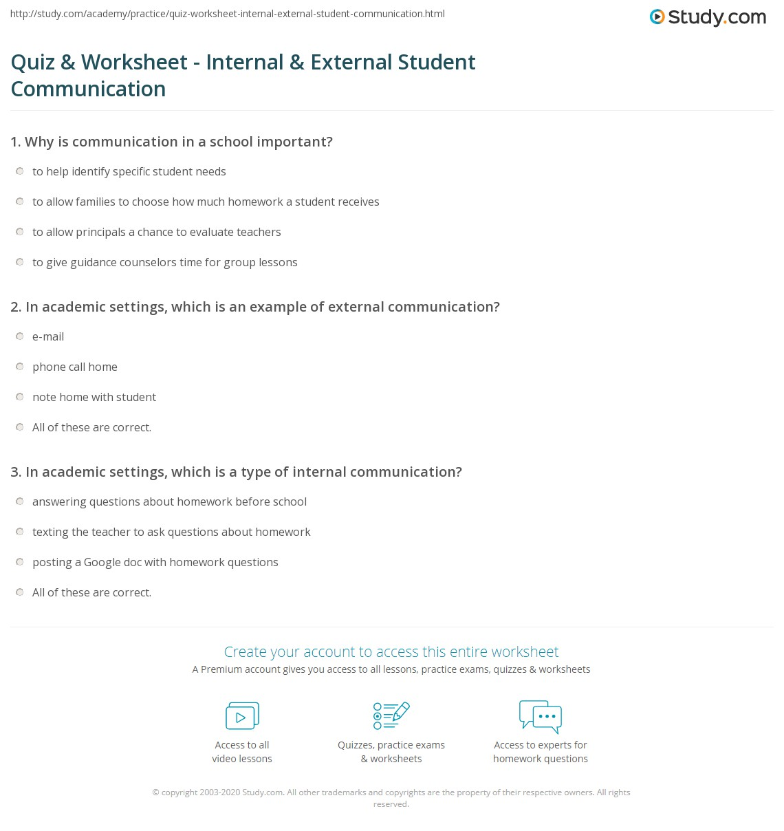 Quiz & Worksheet - Internal & External Student Communication | Study com