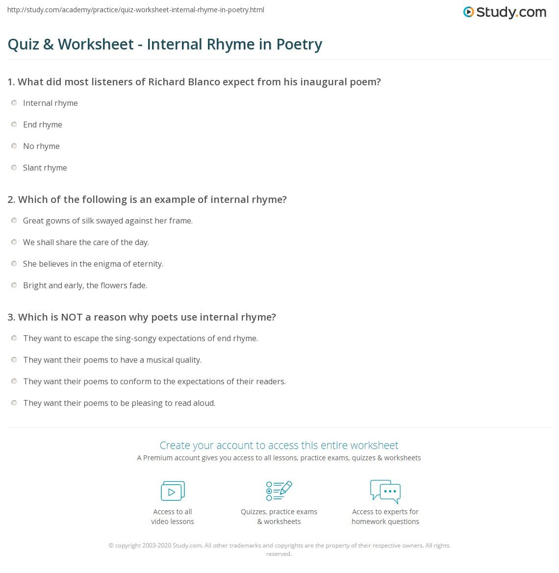 Quiz Worksheet Internal Rhyme In Poetry Study
