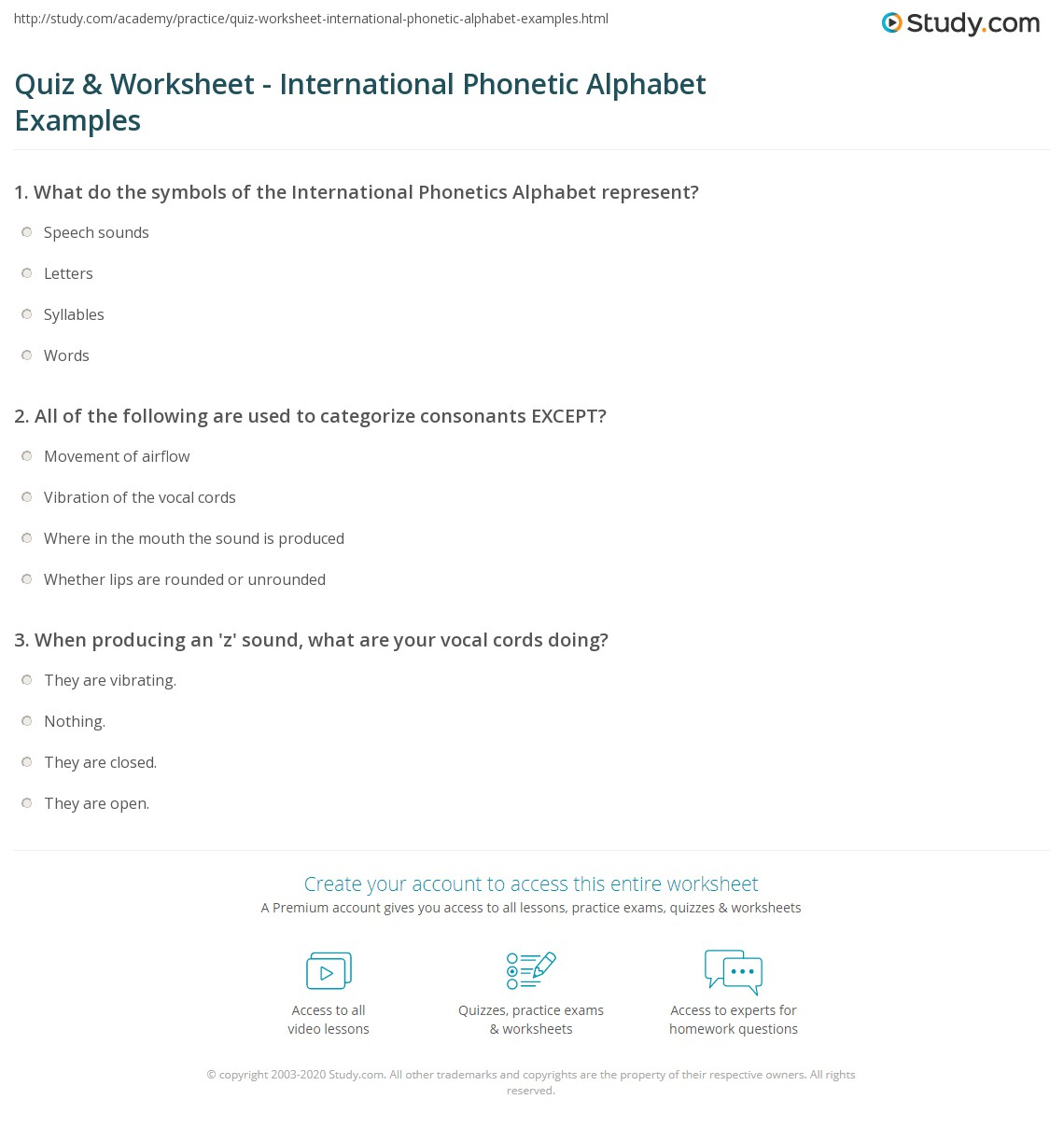 Quiz worksheet international phonetic alphabet examples print international phonetic alphabet sounds symbols worksheet biocorpaavc Choice Image