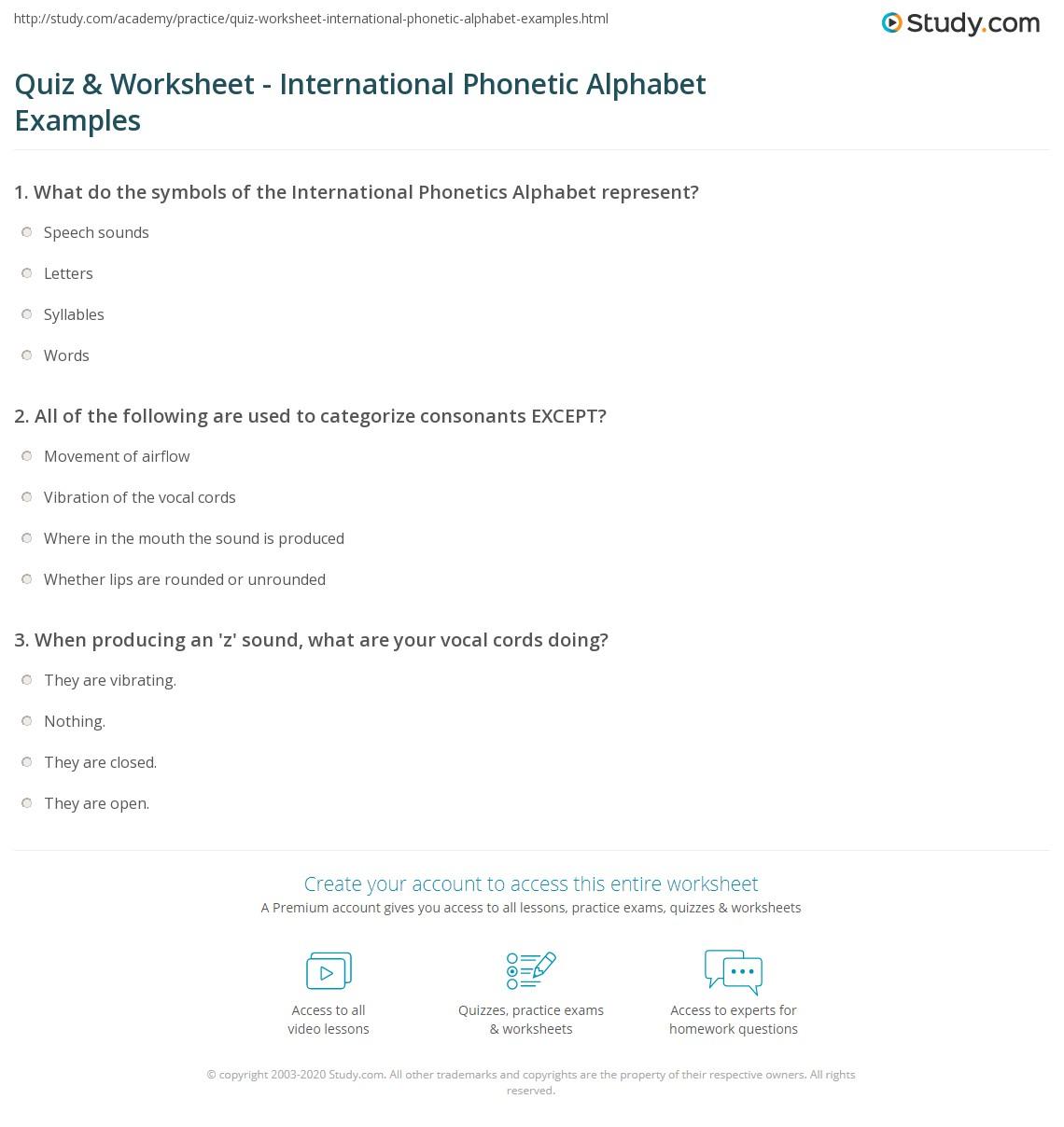 Quiz & Worksheet - International Phonetic Alphabet Examples  grade worksheets, math worksheets, education, multiplication, alphabet worksheets, and learning Phonetic Alphabet Worksheet 1415 x 1140