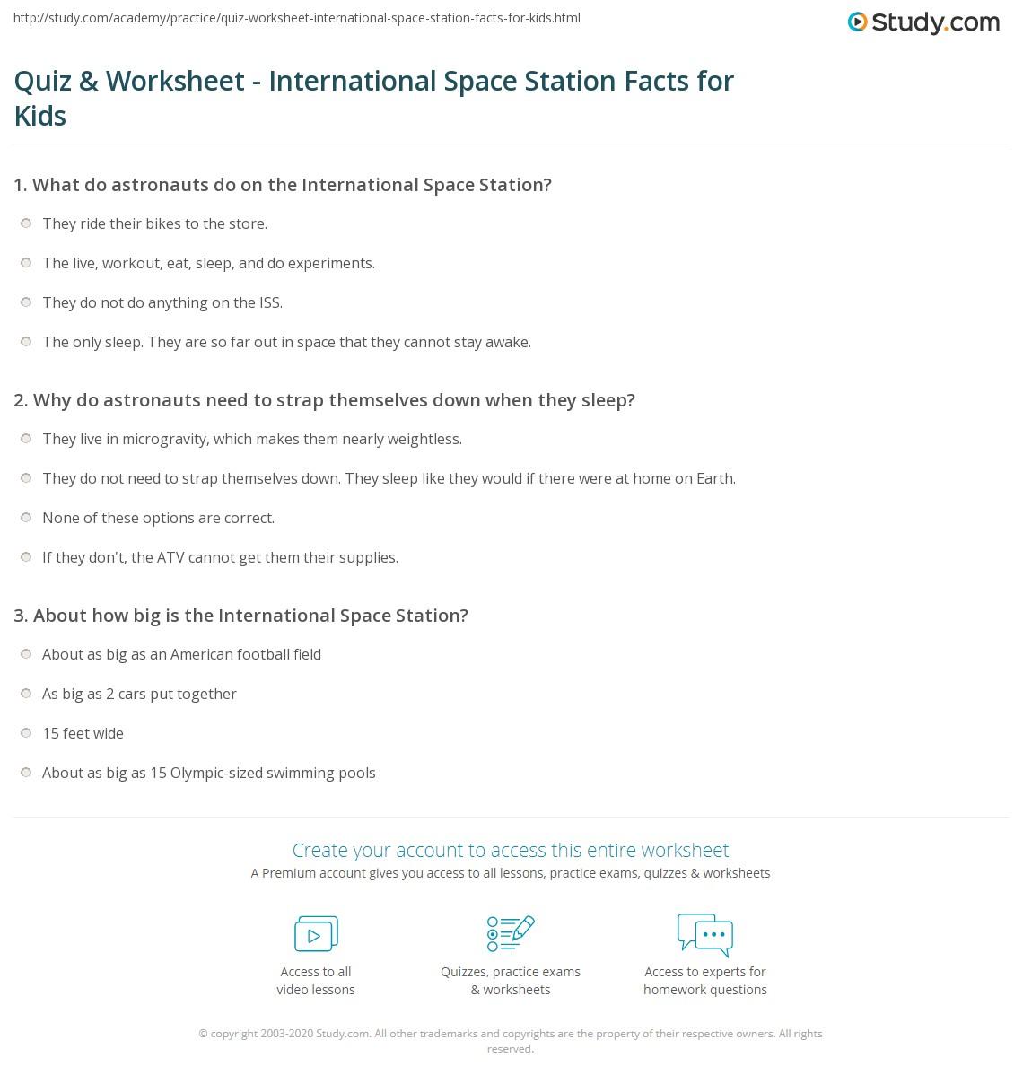 Quiz & Worksheet - International Space Station Facts for Kids ...