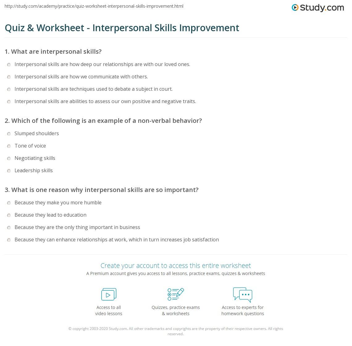 quiz worksheet interpersonal skills improvement com print how to improve interpersonal skills worksheet