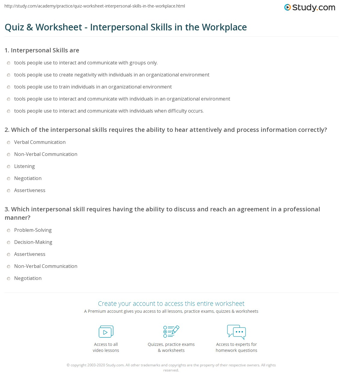 quiz worksheet interpersonal skills in the workplace com print interpersonal skills in the workplace examples and importance worksheet