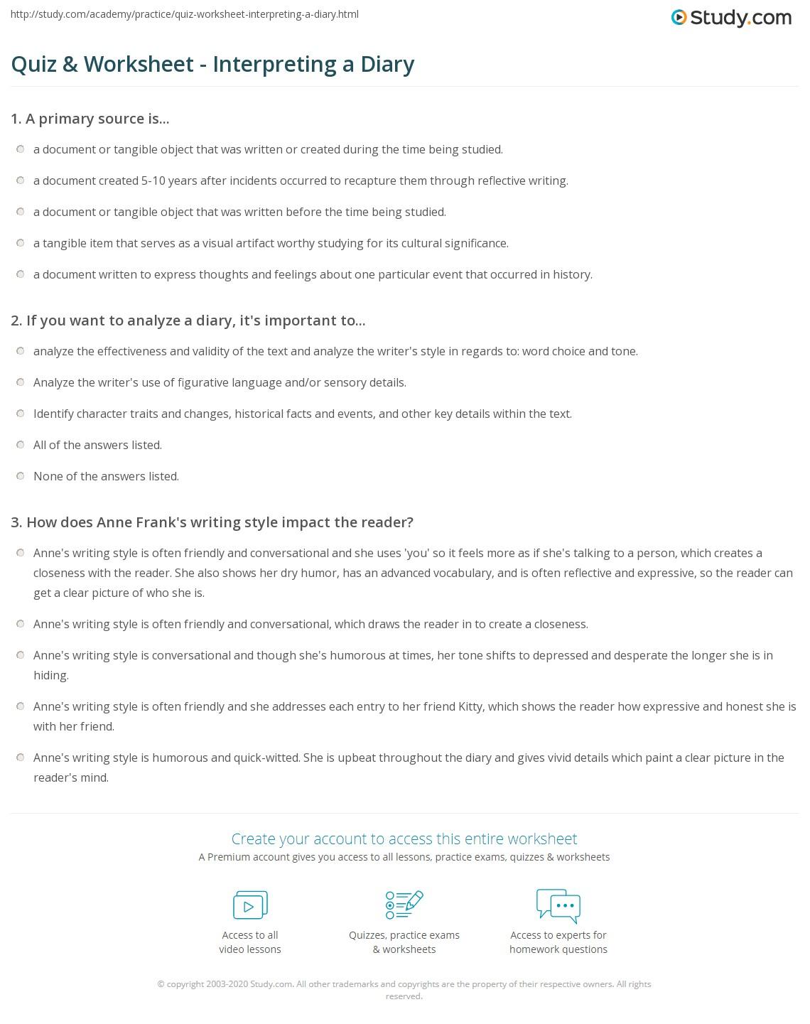 Quiz & Worksheet - Interpreting a Diary | Study.com