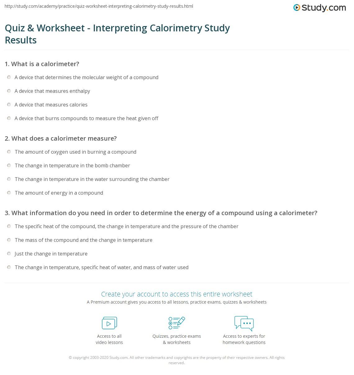 worksheet Calorimetry Worksheet 1 Answers quiz worksheet interpreting calorimetry study results com print analyzing the of experiments worksheet