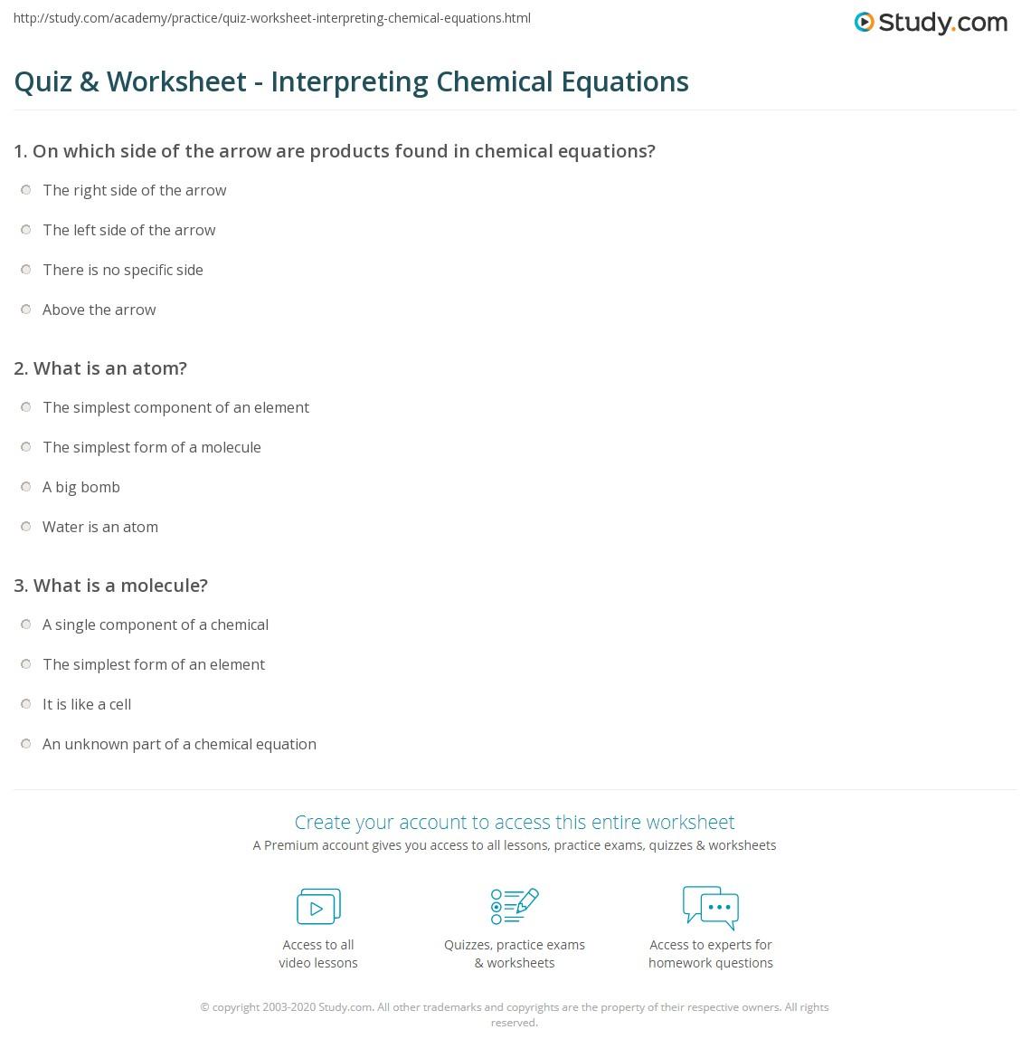 Quiz & Worksheet - Interpreting Chemical Equations | Study.com
