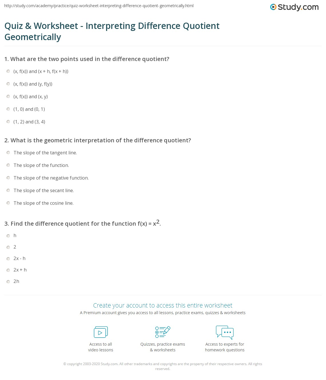 Worksheets Difference Quotient Worksheet quiz worksheet interpreting difference quotient geometrically print the geometric interpretation of worksheet