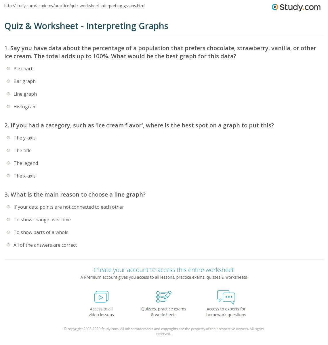 worksheet Interpreting Line Graphs Worksheet quiz worksheet interpreting graphs study com print how to interpret information from worksheet
