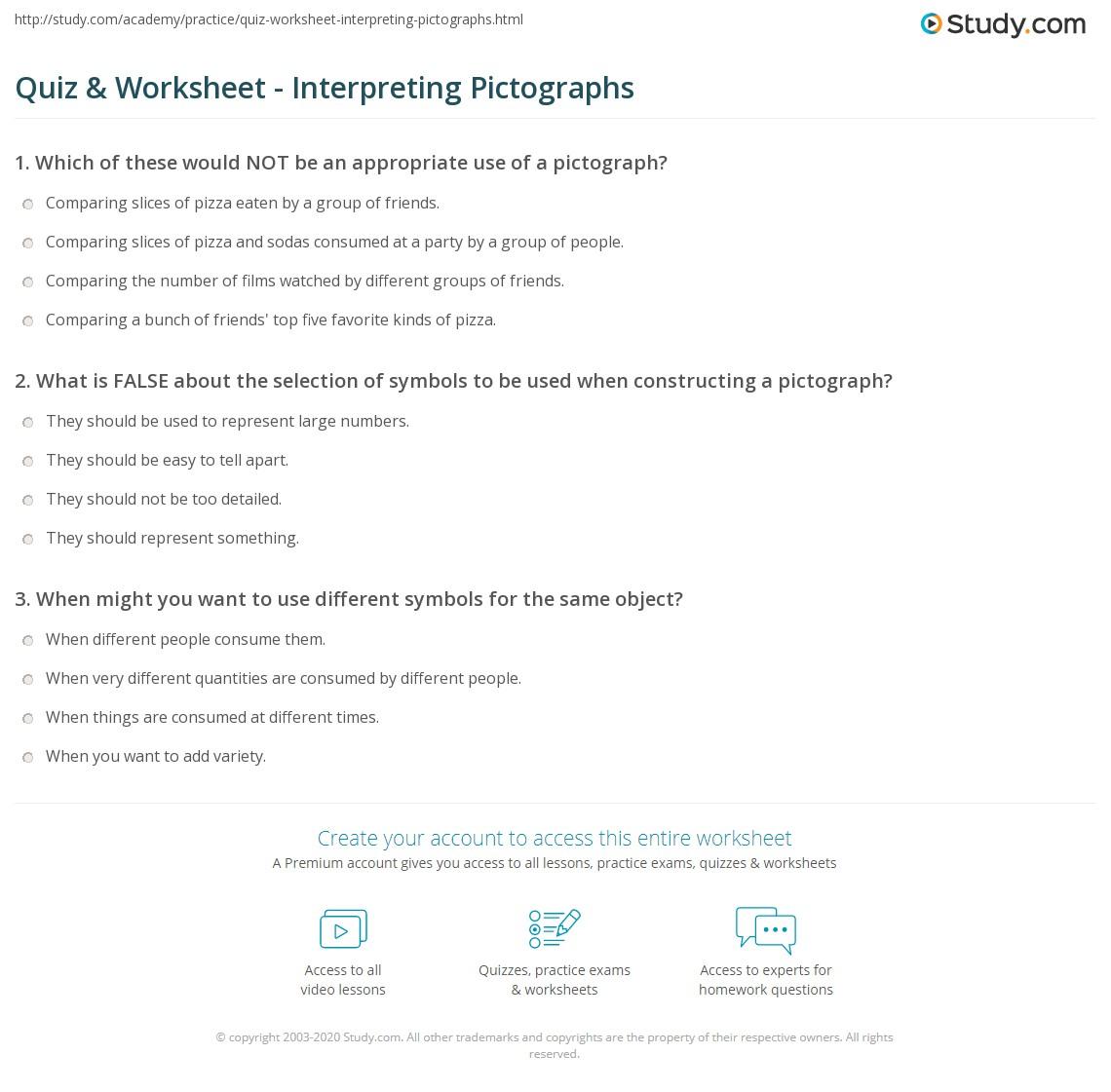 worksheet Pictographs Worksheets quiz worksheet interpreting pictographs study com print reading worksheet