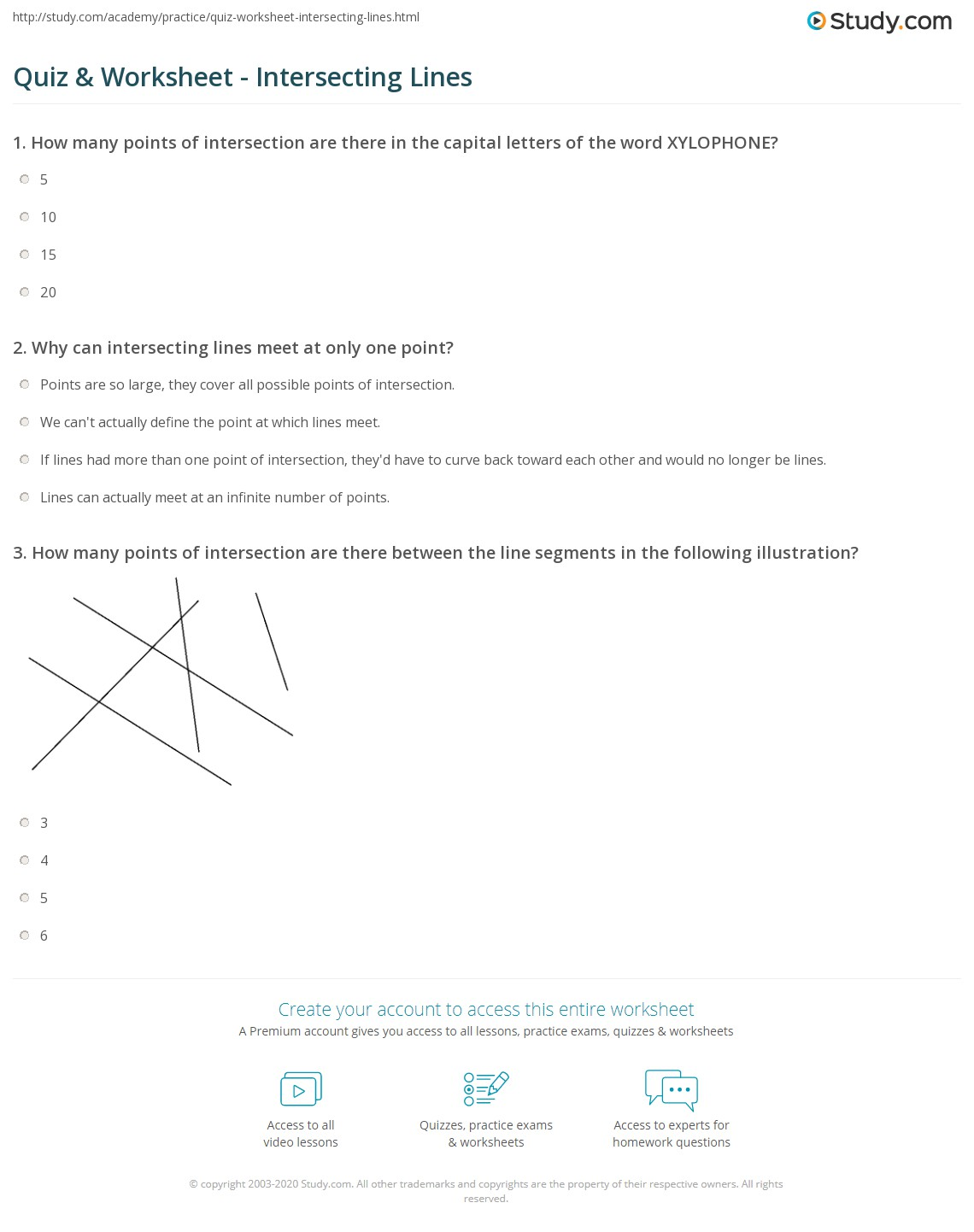 Worksheets Intersecting Lines Worksheet quiz worksheet intersecting lines study com print what are definition examples worksheet