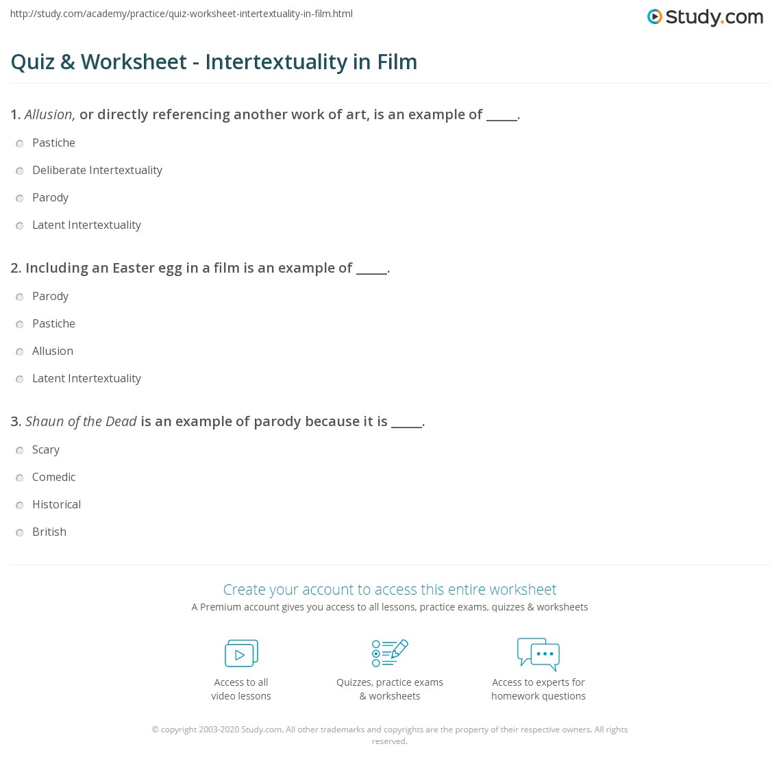 Quiz Worksheet Intertextuality In Film Study