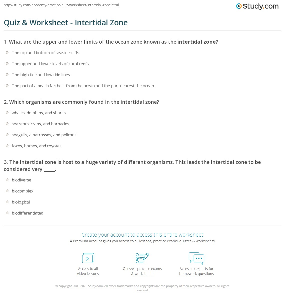 quiz & worksheet - intertidal zone | study