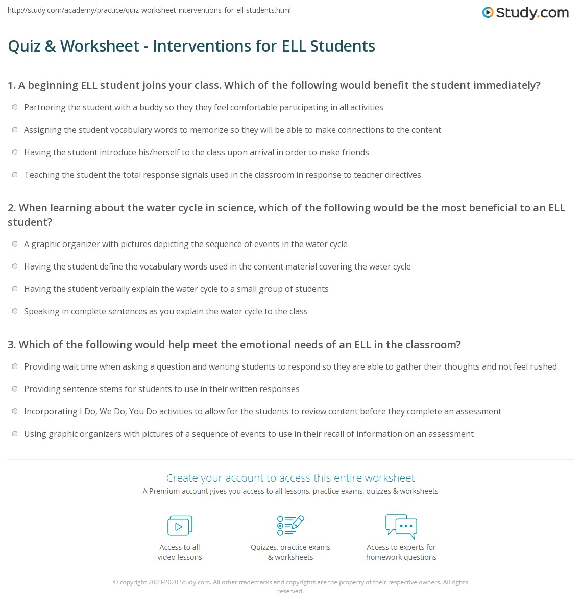 Quiz & Worksheet - Interventions for ELL Students   Study com