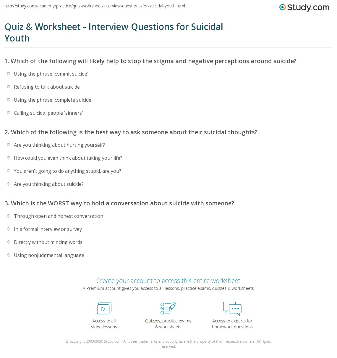 quiz worksheet interview questions for suicidal youth com which of the following is the best way to ask someone about their suicidal thoughts