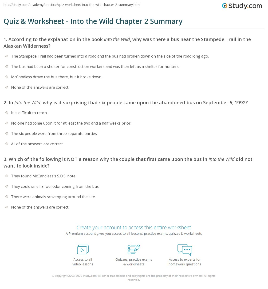 Print Into The Wild Chapter 2 Summary Worksheet