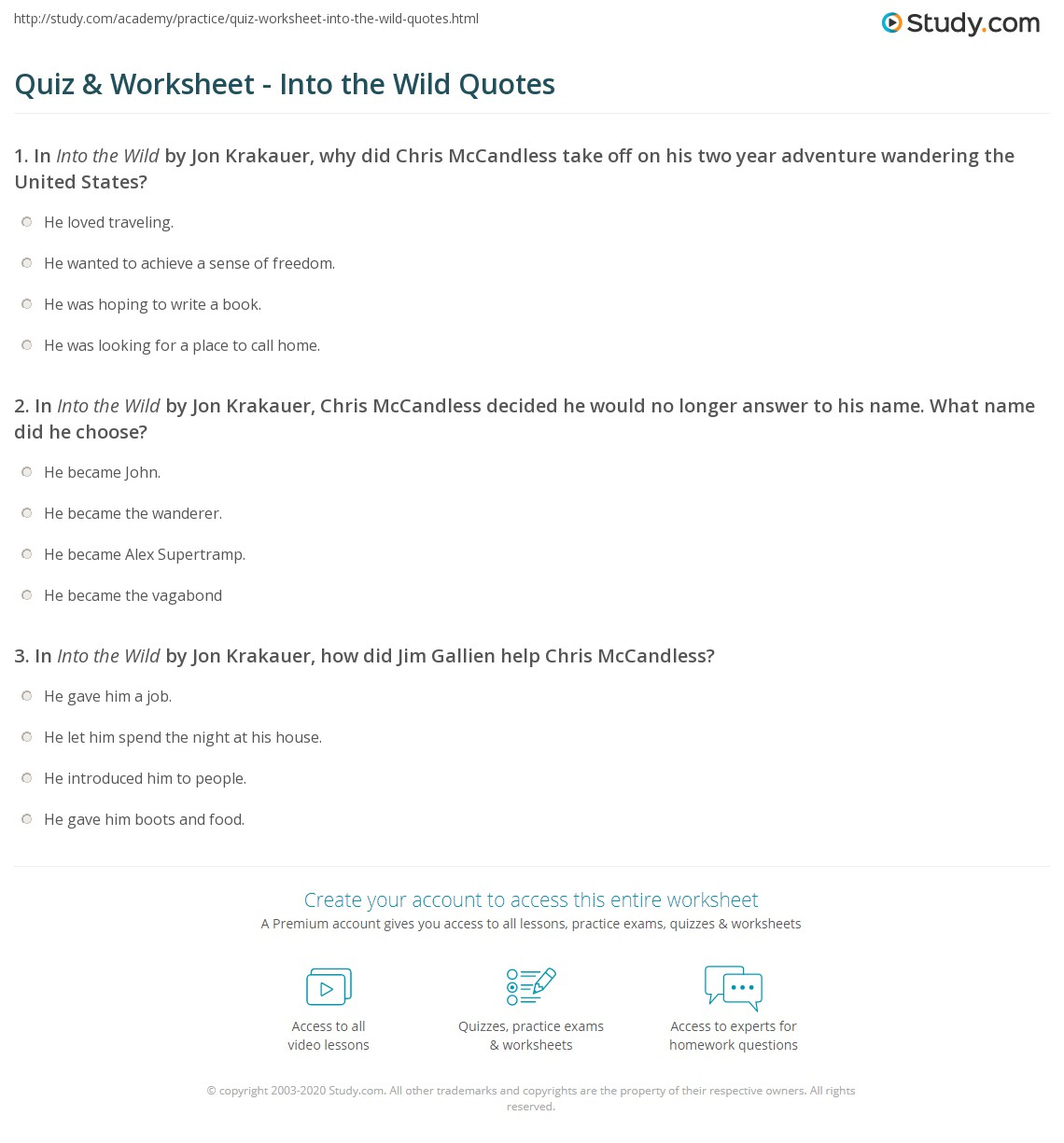 Quiz & Worksheet - Into the Wild Quotes | Study.com