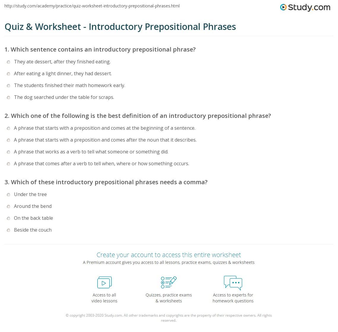 Quiz Worksheet Introductory Prepositional Phrases – Prepositional Phrase Worksheet