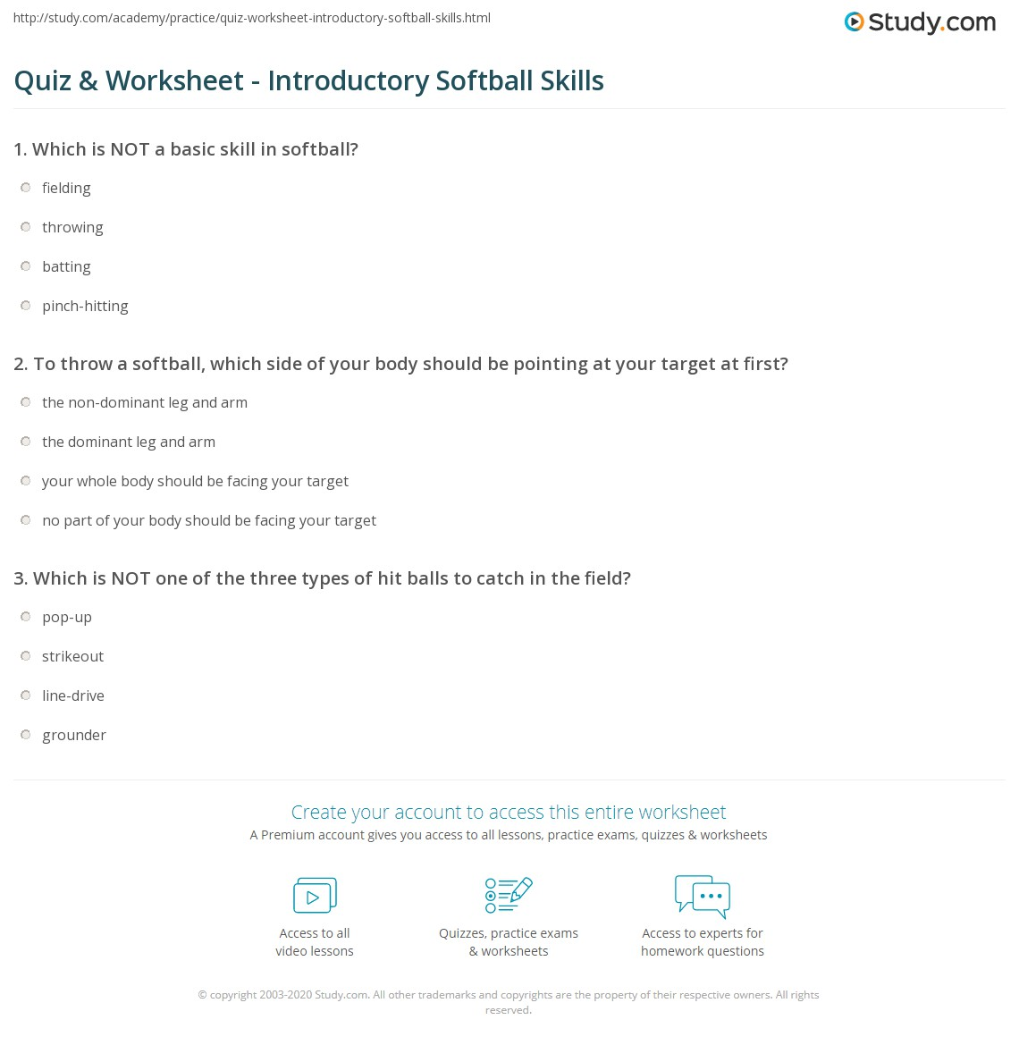 quiz worksheet introductory softball skills. Black Bedroom Furniture Sets. Home Design Ideas