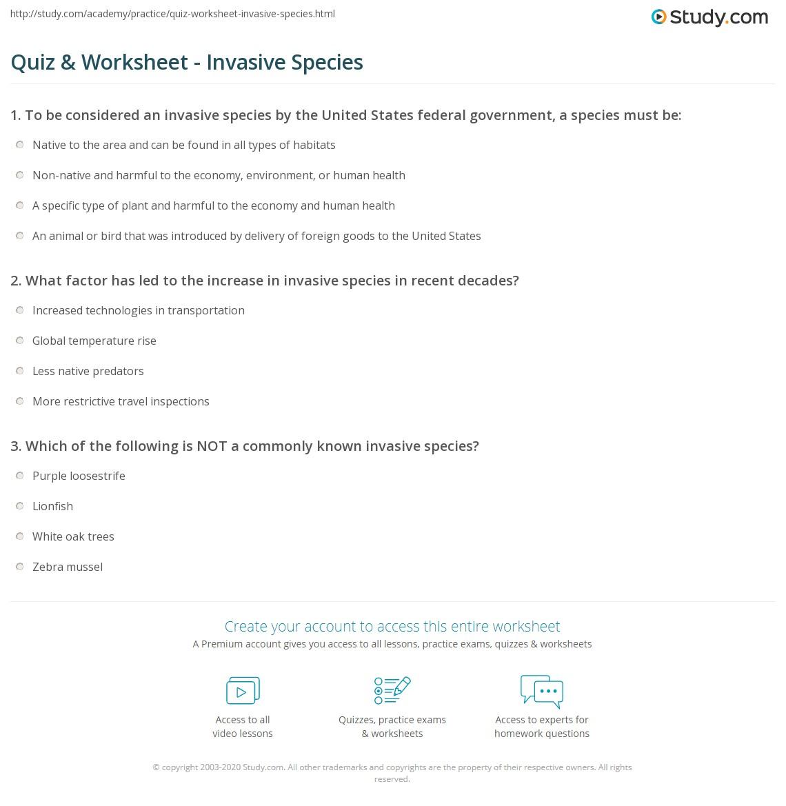 Free Worksheet Invasive Species Worksheet quiz worksheet invasive species study com print what is an definition list effects worksheet
