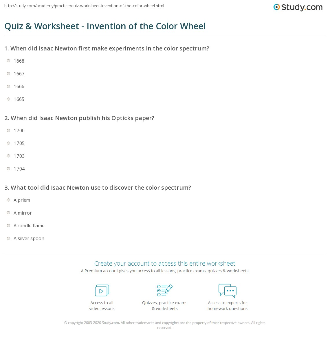 Print Who Invented The Color Wheel Worksheet
