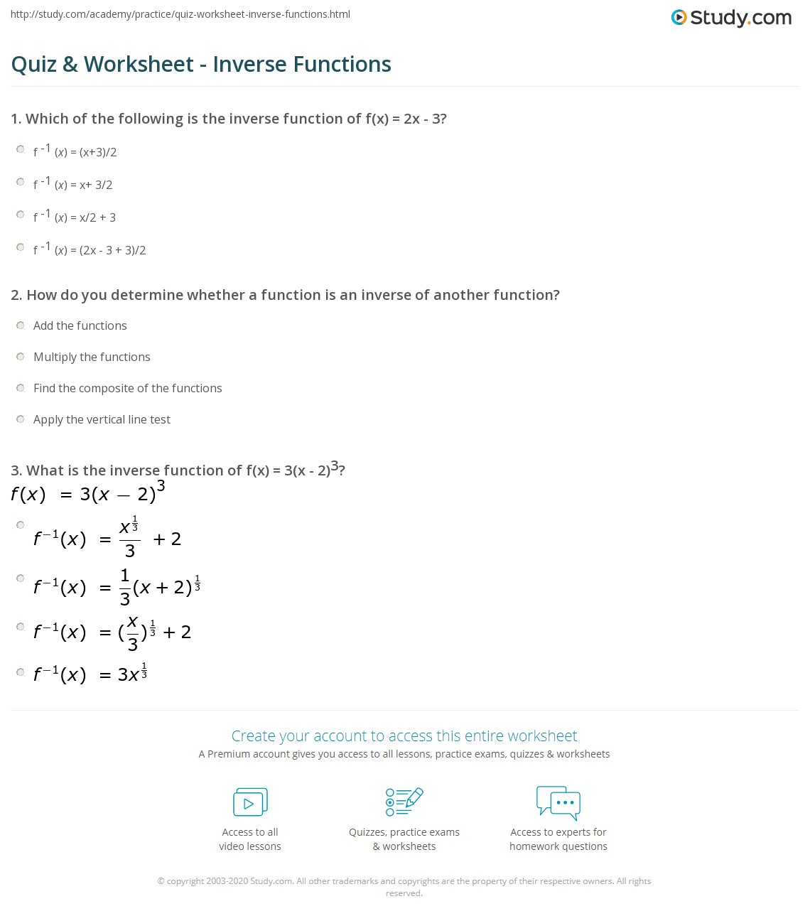 quiz worksheet inverse functions. Black Bedroom Furniture Sets. Home Design Ideas